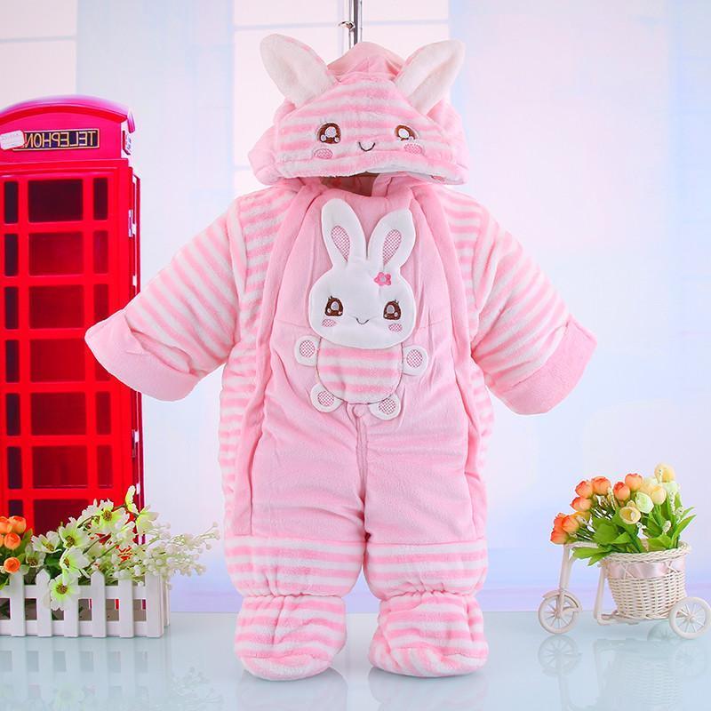 2014加厚动物造型连体衣纯棉内里兔子哈衣男女宝宝冬装婴儿服 粉红色