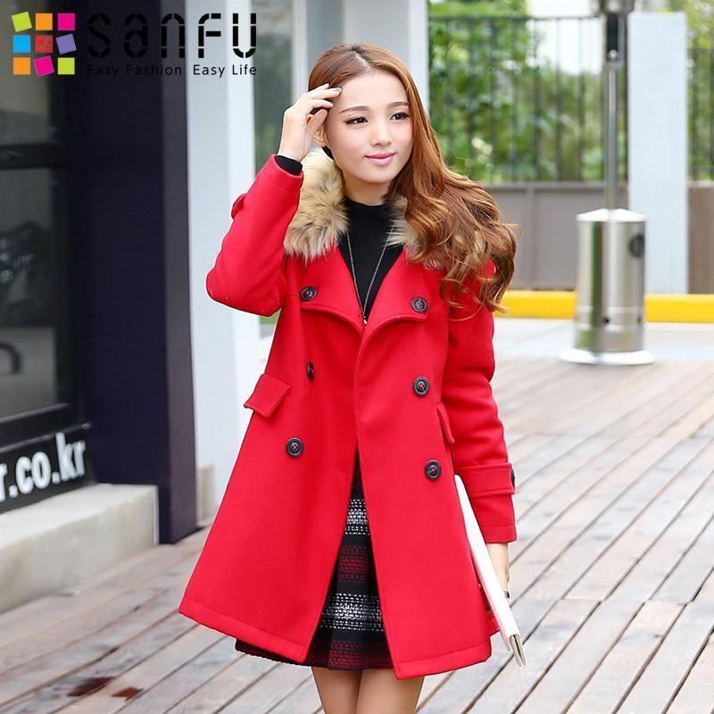 三福2014女装冬季新款 韩版双排扣毛领大衣 长袖毛呢厚外套743486