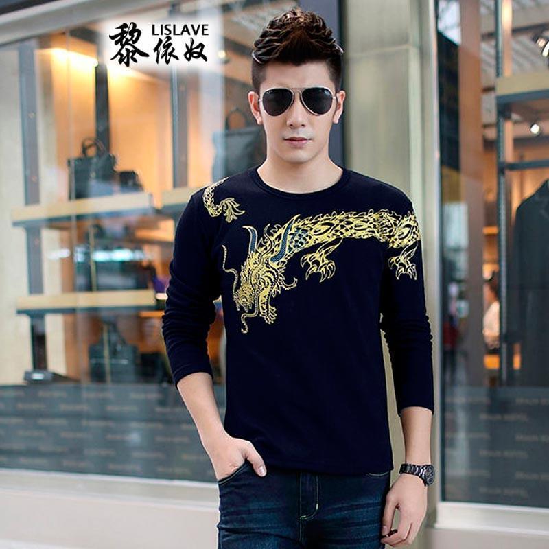 霸气男士长袖t恤中国风潮男龙图案纹身长袖男装w723