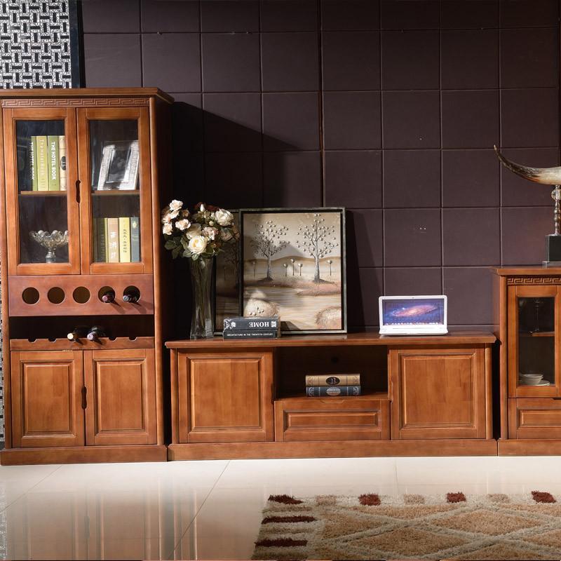 品尚美家 实木家具 中式现代简约 实木电视柜 酒柜 多