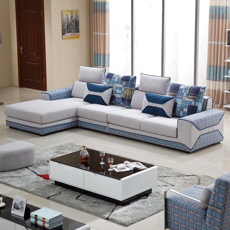 俏夫人布艺沙发时尚百搭小户型客厅转角布沙发组合202