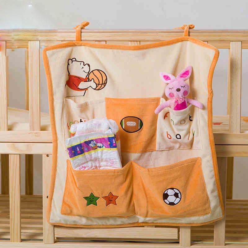 迪士尼宝宝用品收纳袋 婴儿床储物袋 开心维尼婴儿储物袋