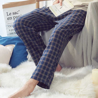 三枪格纹纯棉睡裤