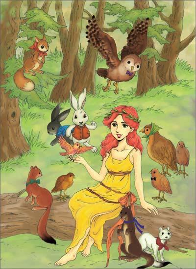 卡通森林女孩插画