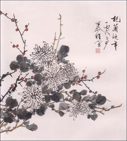 老年国画大学堂·写意花鸟画技法.菊
