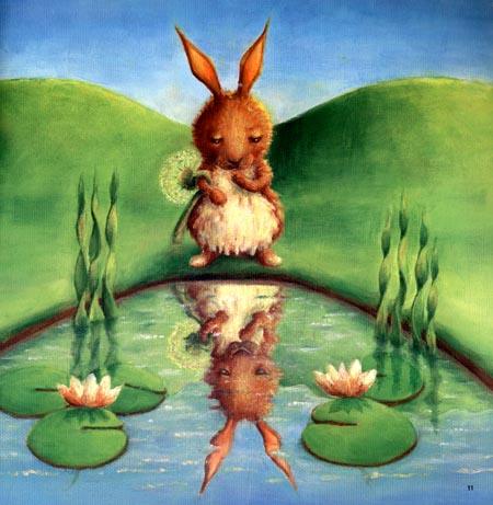 小兔子等啊,等啊,天色越来越暗,月亮公公为什么还不来呢?