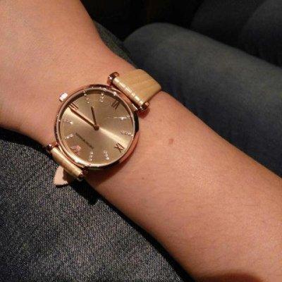 armani 阿玛尼手表 真皮皮带水钻女表 ar1681