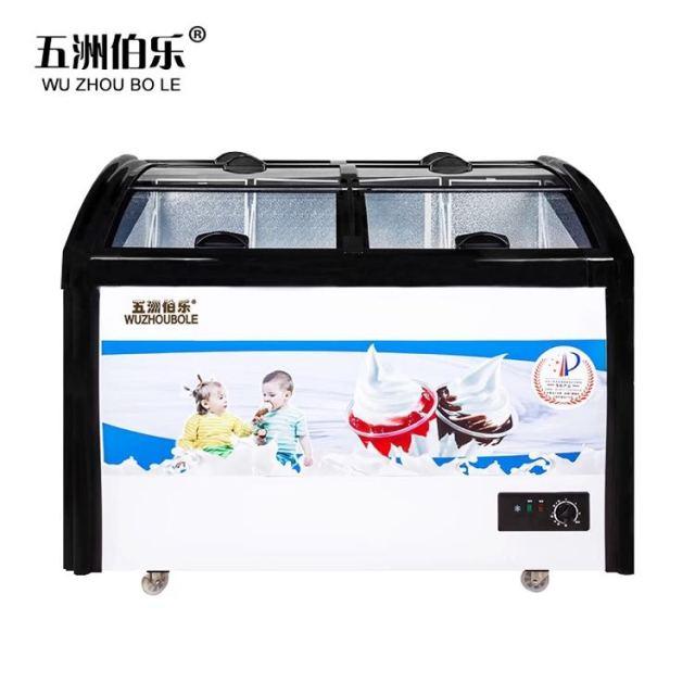 五洲伯乐sr/sf-278y圆弧玻璃门冷柜 冷藏冷冻保鲜柜卧式家用冰柜速冻