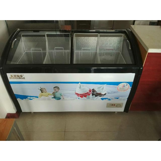 五洲伯乐sr/sf-345y圆弧玻璃门冷柜 冷藏冷冻保鲜柜卧式家用速冻柜 商