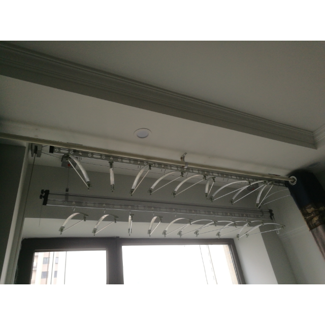 三杆手摇晾衣架 创新设计 阳台双杆手摇式升降晾衣架三杆晾衣杆加厚图片