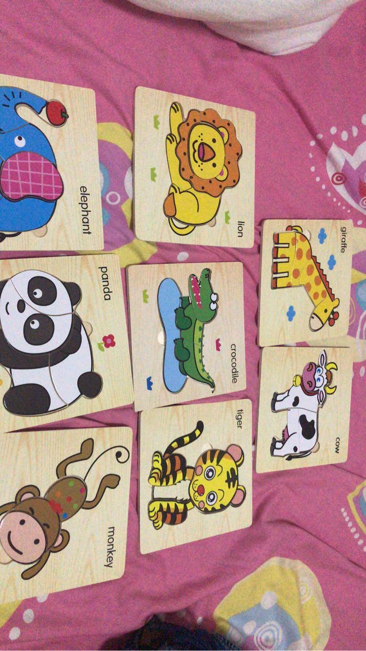 动物系列拼图 宝宝幼儿童积木 木质拼图 儿童拼插玩具0-2-3-4岁早教