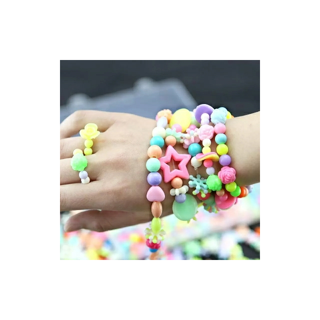 >diy手链色手工时尚益智串珠编织梦幻糖果24格盒装水晶材料儿童玩具双肩包女珠子简约图片