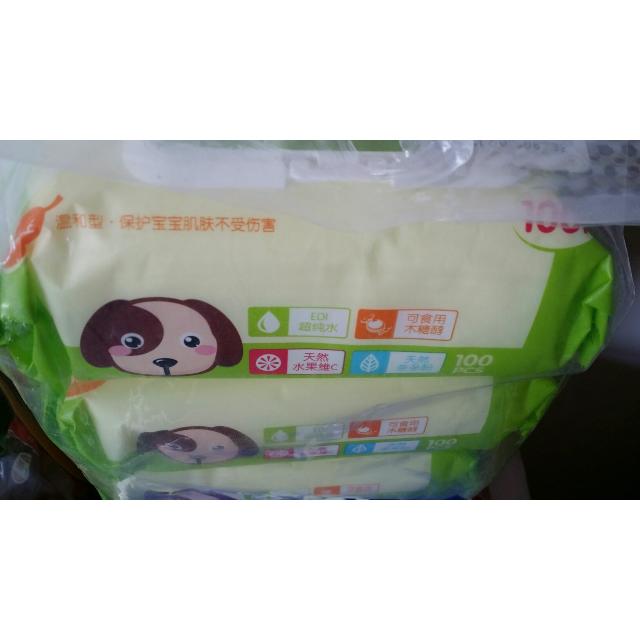 洗护用品 孕妈护肤 孕婴洁肤 【苏宁自营】可爱多婴儿手口湿巾100片盖