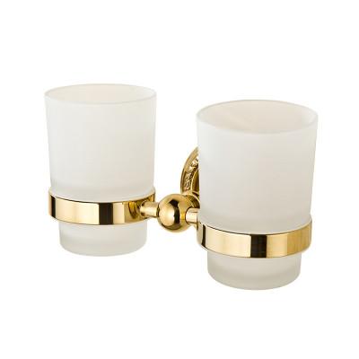 欧式金色双杯架牙刷架牙杯