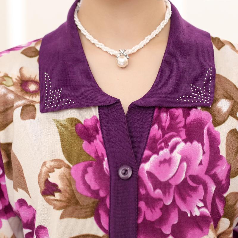 中老年女装春装印花长袖开衫外套50-60岁老人针织衫女春秋妈妈装上衣