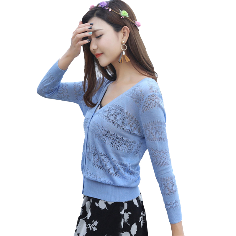 樵JIAO针织开衫2018夏季超薄冰丝针织衫女开衫镂空短款防晒衫七分袖空调衫披肩小外套
