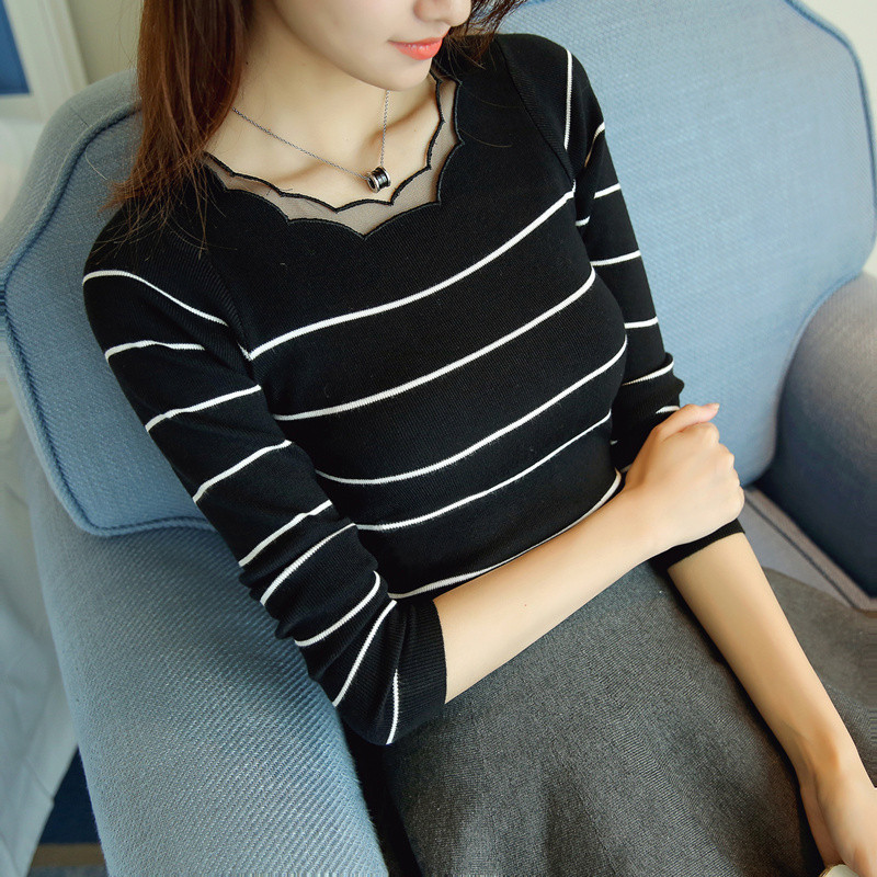 樵JIAO 针织衫女套头2018春季新款韩版蕾丝短款长袖修身条纹毛衣打底衫J02