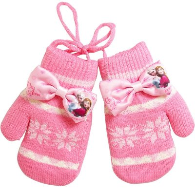 迪士尼冰雪奇缘韩版带挂绳保暖儿童手套女童手套卡通可爱宝宝手套图片