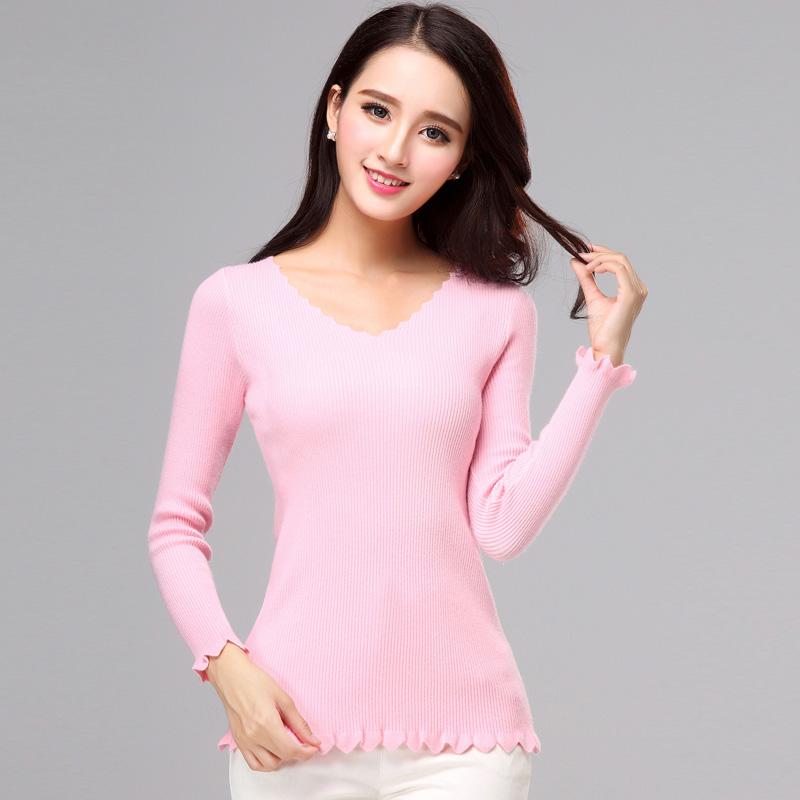 歌诺瑞丝2017春季女装新款韩版波浪圆领百搭修身显瘦针织衫毛衣女8690