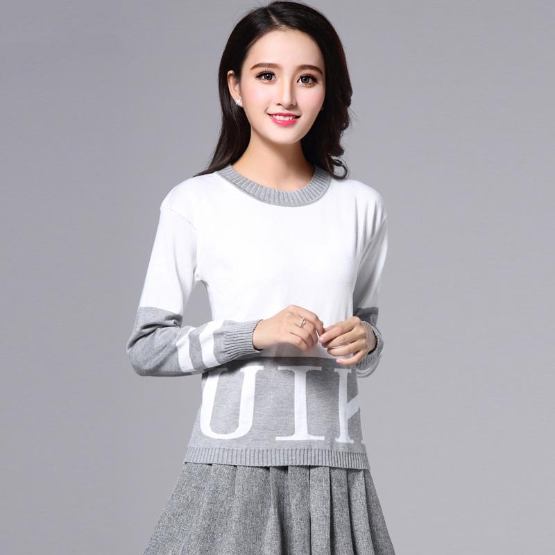 歌诺瑞丝2017春季女装新款韩版宽松百搭打底字母针织衫套头毛衣女5007