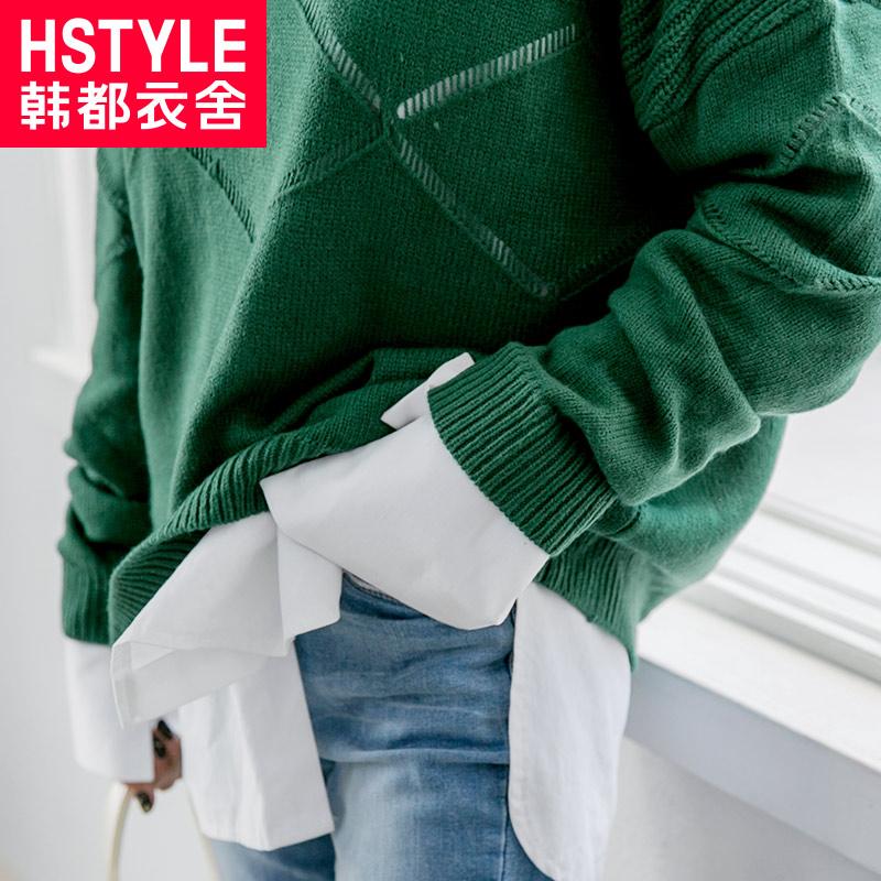 韩都衣舍(HSTYLE) 针织衫女2018韩版常规款女装春季新款常规宽松螺纹套头显瘦纯色长袖毛针织衫毛衣女