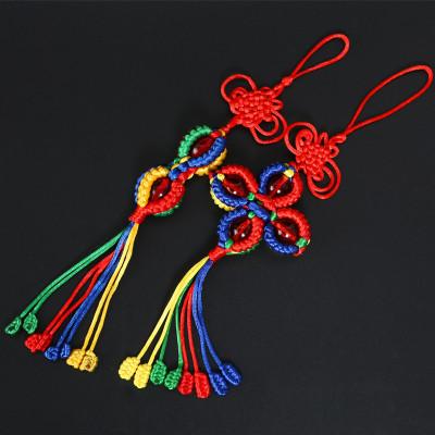集祥阁 西藏五彩绳编织金刚结十字灯笼金刚结吉祥珠结转经筒汽车挂件