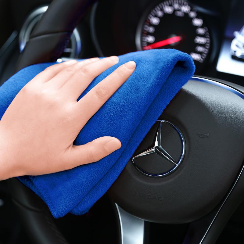 洛玛 汽车车用毛巾车用吸水毛巾加厚擦车布不掉毛汽车专用玻璃清洁抹布用品60cm*30cm{单条装}