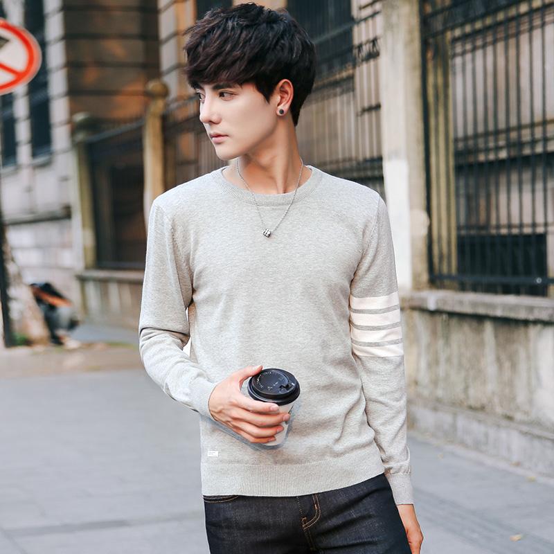 蒙洛里克针织衫男2017秋季新款青少年圆领拼色薄线衫纯色修身长袖套头毛衣1610