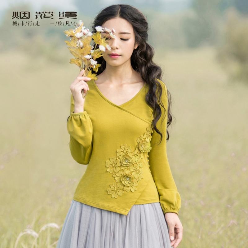 烟花烫2018夏季新款女装绣花纯色套头上衣弹力针织衫 惜文