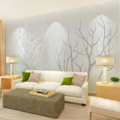 北欧风格现代简约手绘电视背景墙壁纸 定制清新沙发墙壁画影视墙墙纸