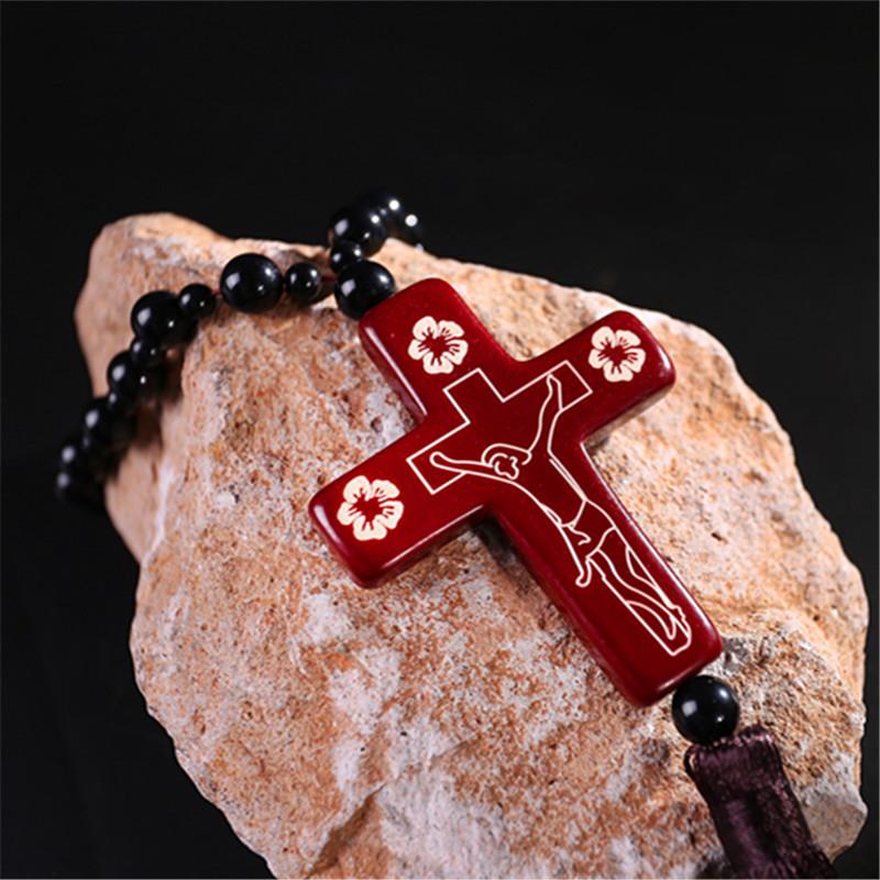 卡骑仕 十字架汽车挂件 木制耶稣车内挂饰 保平安内饰用品
