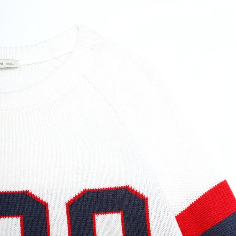 美特斯邦威毛衣女士春秋季学院风数字撞色套头针织衫线衫韩版潮228670