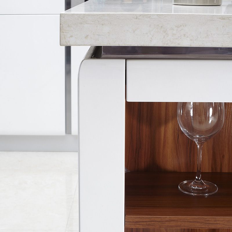 佰丽爱家橱柜定制 整体厨柜定做简约现代金属烤漆面板橱柜定做进口环保爱格板柜体石英石台面多功能灶台柜整装定制