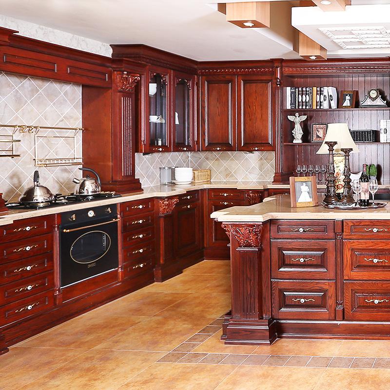 佰丽爱家整体橱柜 欧式实木整体厨柜定制 南美樱桃木高端厨柜定做石英石台面整体厨房多功能灶台柜整装定制
