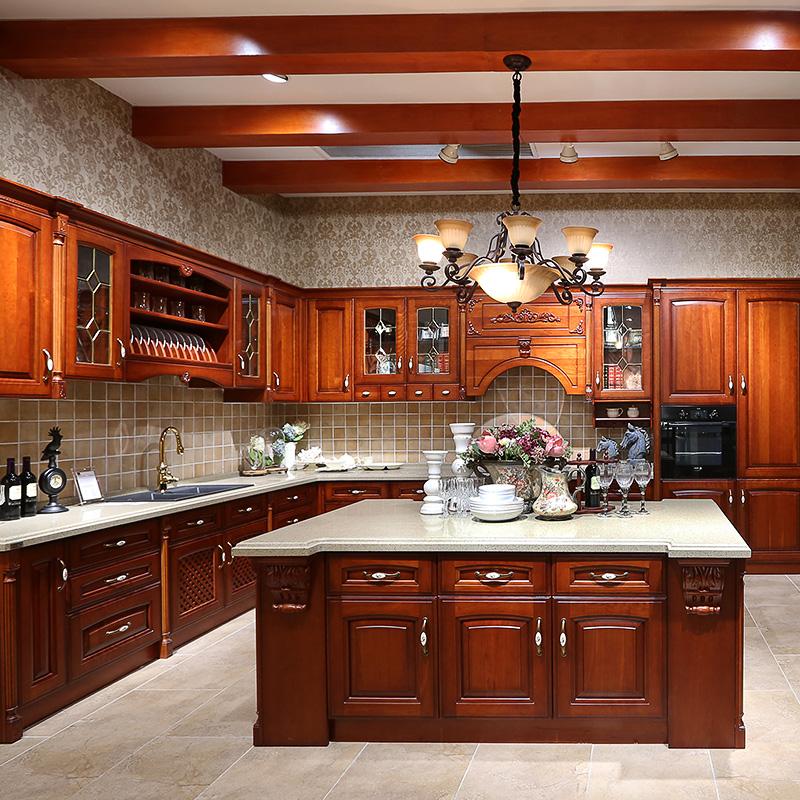 佰丽爱家橱柜定制 整体厨柜定做欧式实木厨房美国红橡木复古厨柜石英石台面灶台柜定制 1米