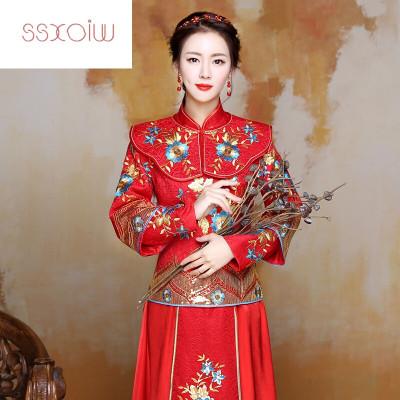 春夏敬酒服新款红色旗袍中式嫁衣结婚纱新娘敬酒服喜服两层袖兰花套装