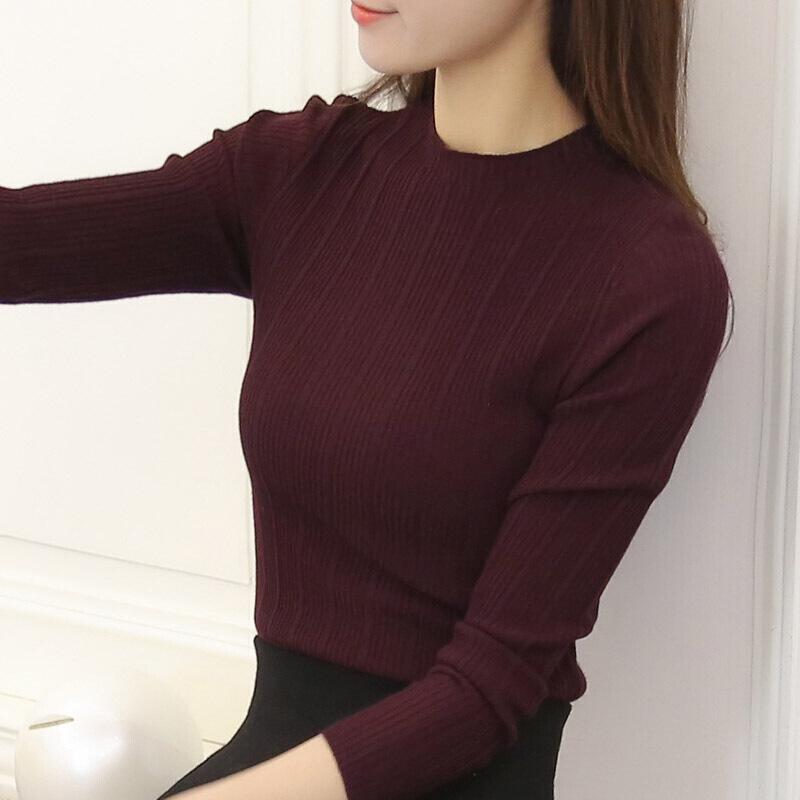 春秋女装毛衣新款韩版修身春季打底衫纯色针织衫女毛衣半高领上衣