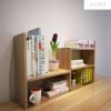 A-STYLE伸缩创意书架置物架桌面书柜简易桌上收纳架储物柜办公组合柜浅胡桃色宽高端出口型