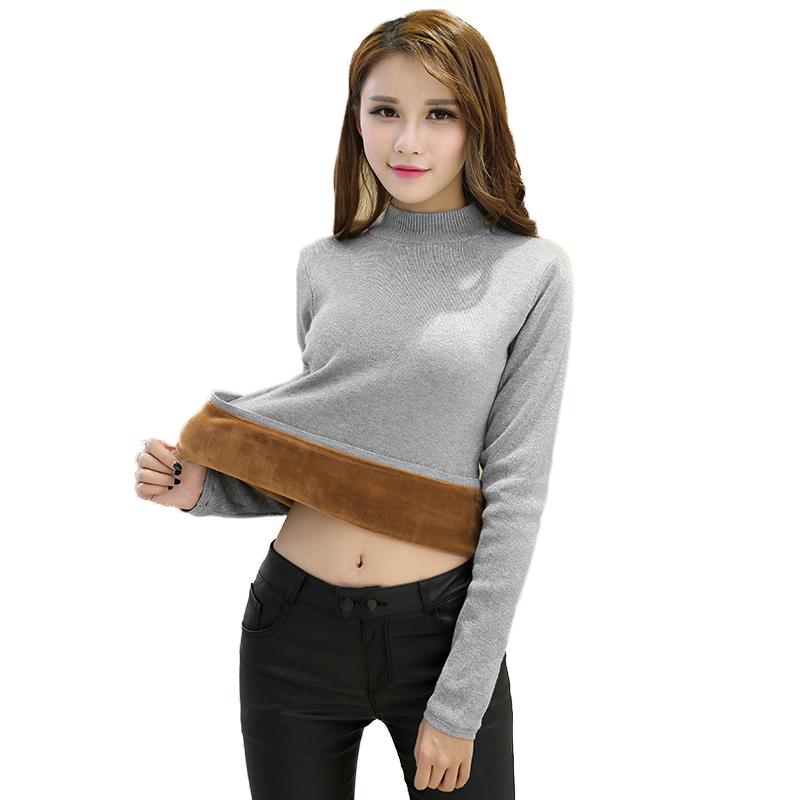 902新款秋冬加绒毛衣女半高领长袖短款大码针织衫修身加厚保暖套头打底衫