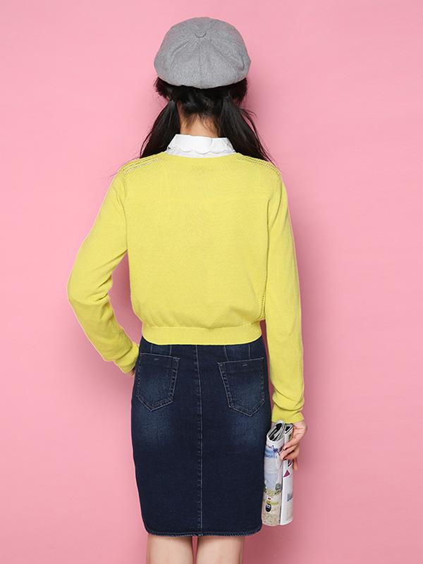 拉夏贝尔Candie's2018春装新款活力亮长袖圆领短款开衫针织衫女30061075