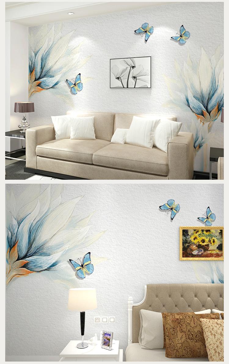 卡茵 客厅电视背景墙壁画 卧室影视墙沙发墙壁纸 蓝色