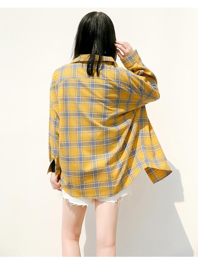 2017新款港味格子衬衫女长袖外套学生韩版复