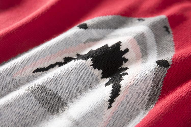 花大红色圆领套头打底针织衫女潮 红色 均码 迪