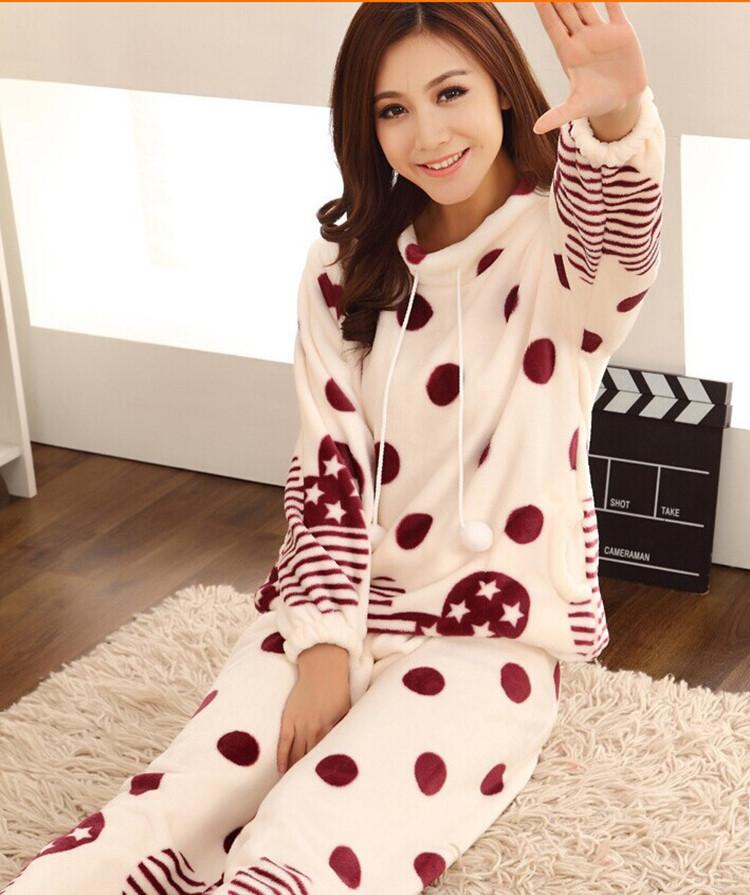 2014秋冬季加厚长袖卡通可爱女生法兰绒睡衣