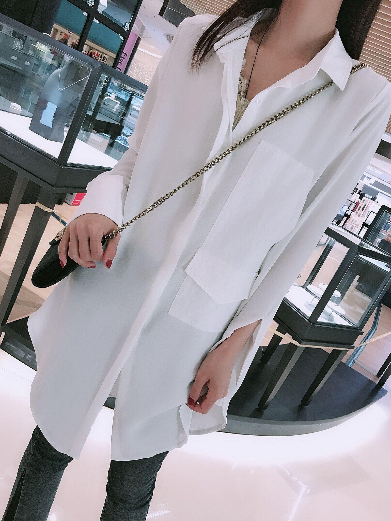 欧女_mgfs新款欧洲站春装新款女欧货潮宽松中长款休闲长袖衬衫女-预售