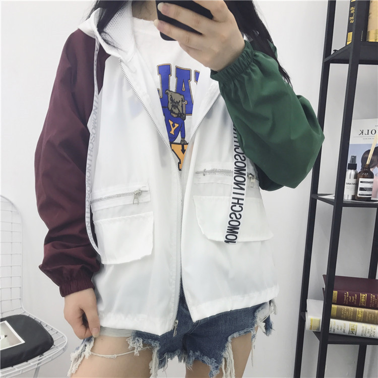 902新款学生夏装烫发衣初中女外套2017新款韩男初中生防晒图片