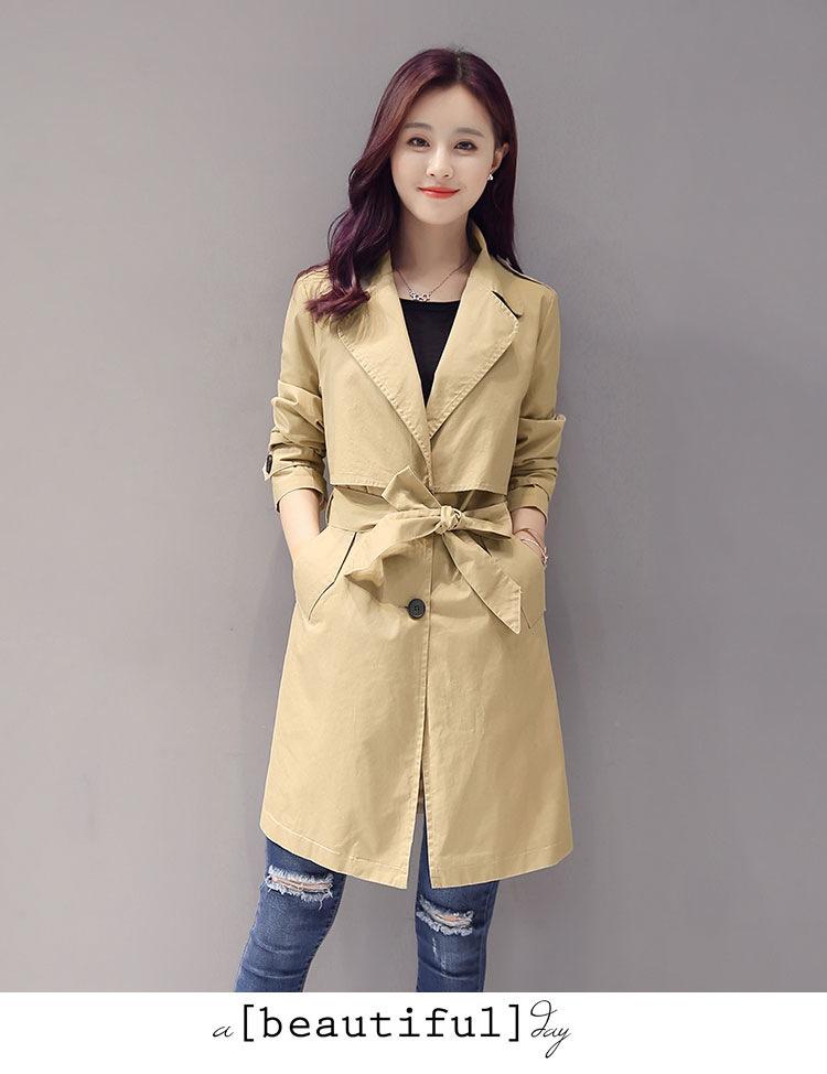 秋季外套女风衣中长款英伦风韩版系带拼接修身
