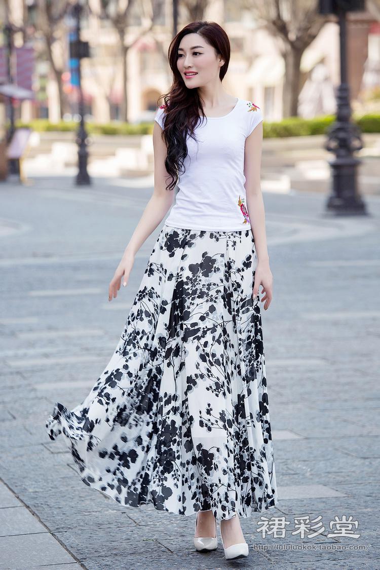 mtiny碎花夏季雪纺半身裙中长款显瘦裙子大摆百褶裙高腰大码沙滩长裙
