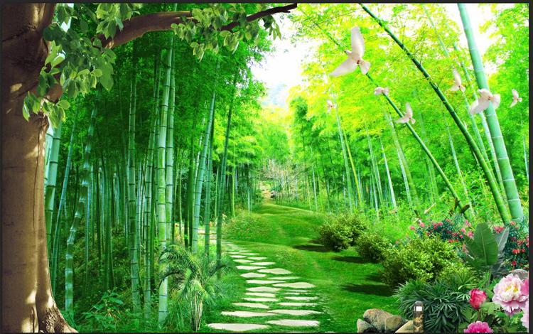 无缝大型3d立体树林风景画电视客厅背景装饰墙纸壁纸绿色护眼