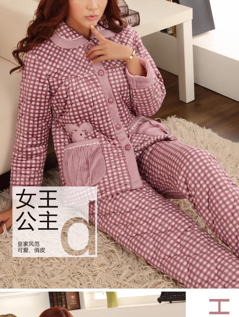 冬季格子情侣珊瑚绒夹棉睡衣男女加厚大码